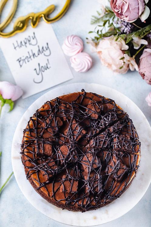 Gooey Chocolate Brownie Baked Cheesecake