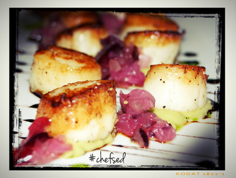 Sea Scallops & Pickled Grape with Avocado