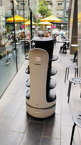 Robot waiter Bellabot's gone outdoor