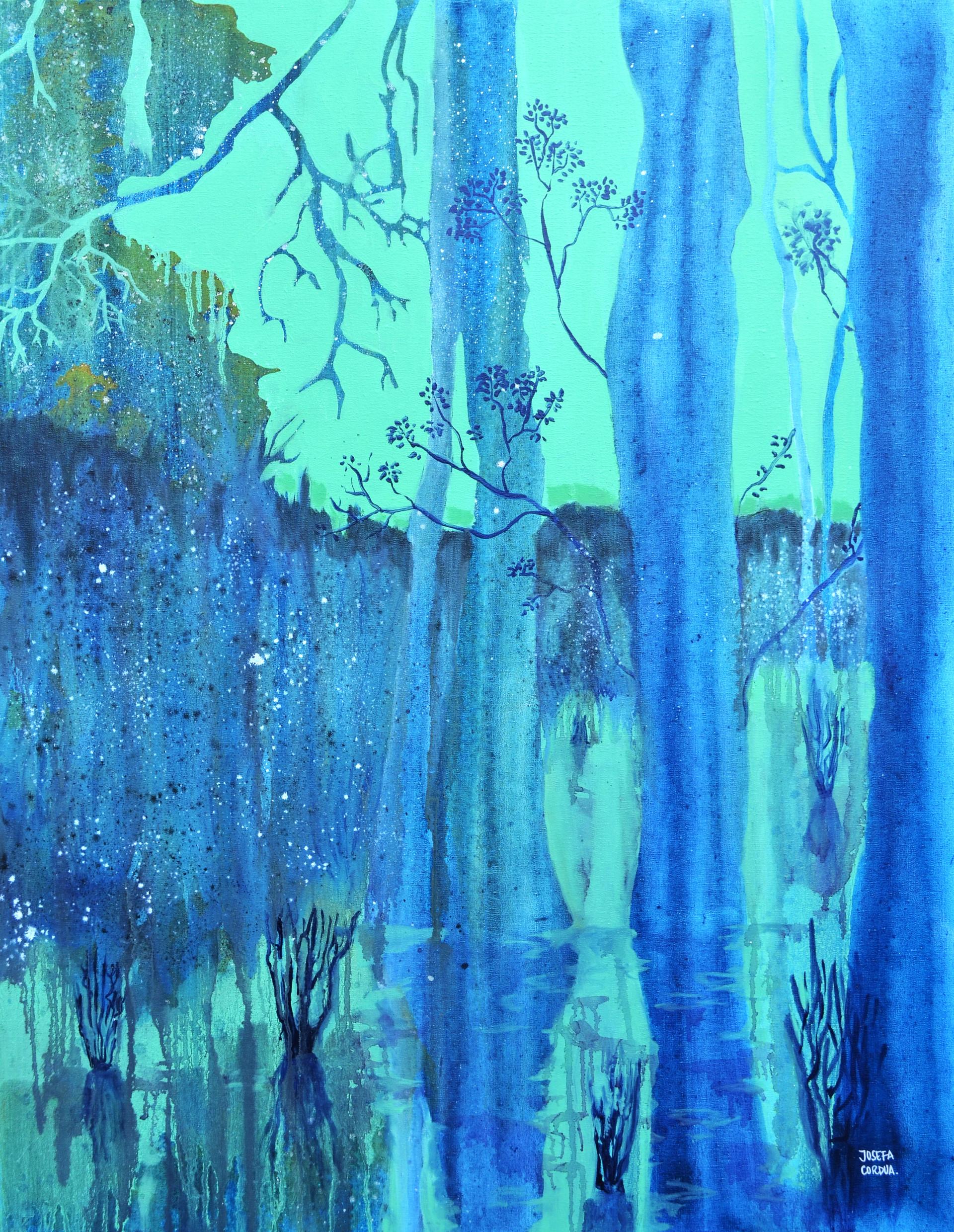 Acrílico, óleo y spray sobre tela. 90 x 70 cm. 2015