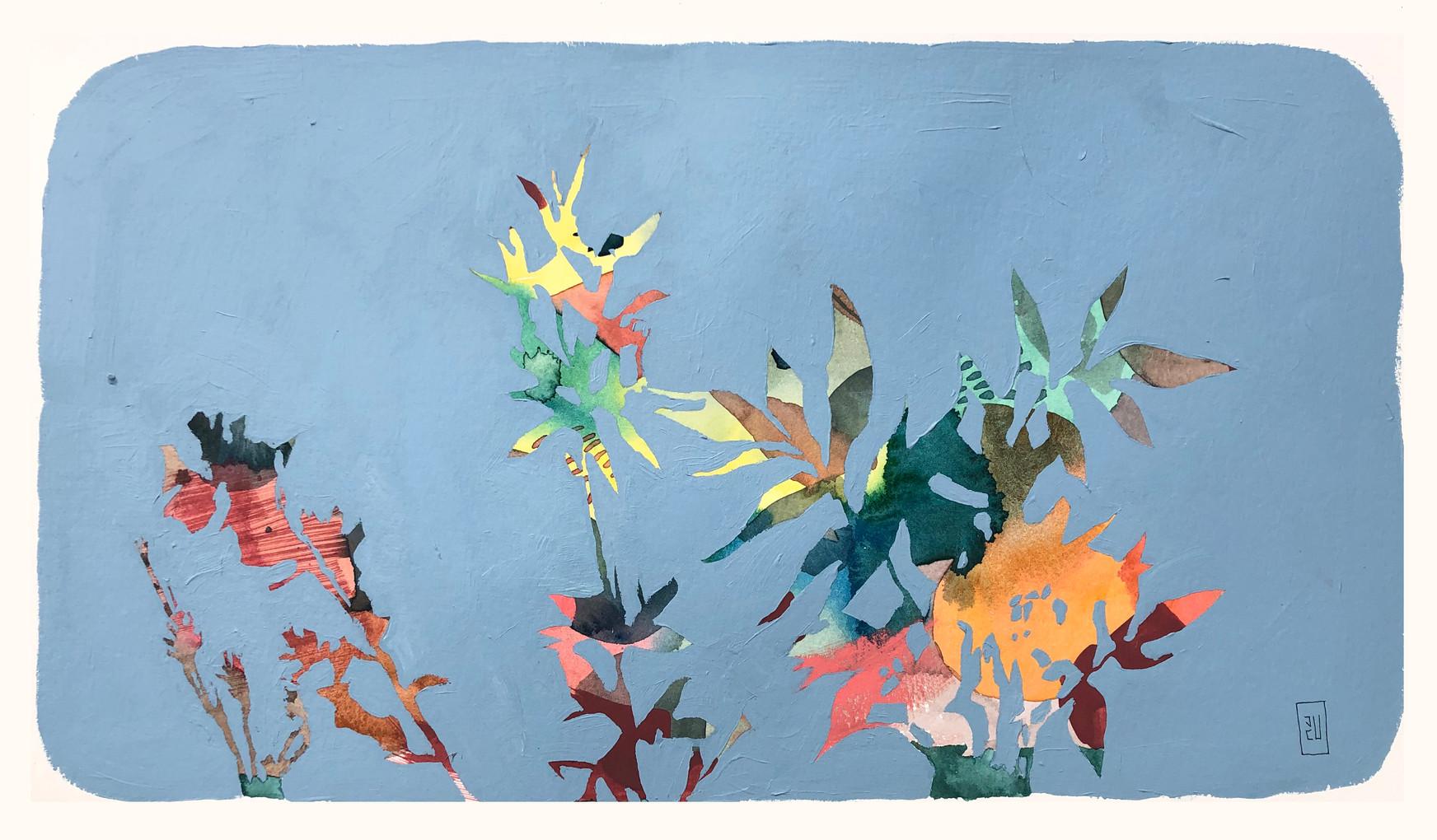 Botánico 1, Acuarela y acrílico sobre papel, 58 x 33 cm. 2019