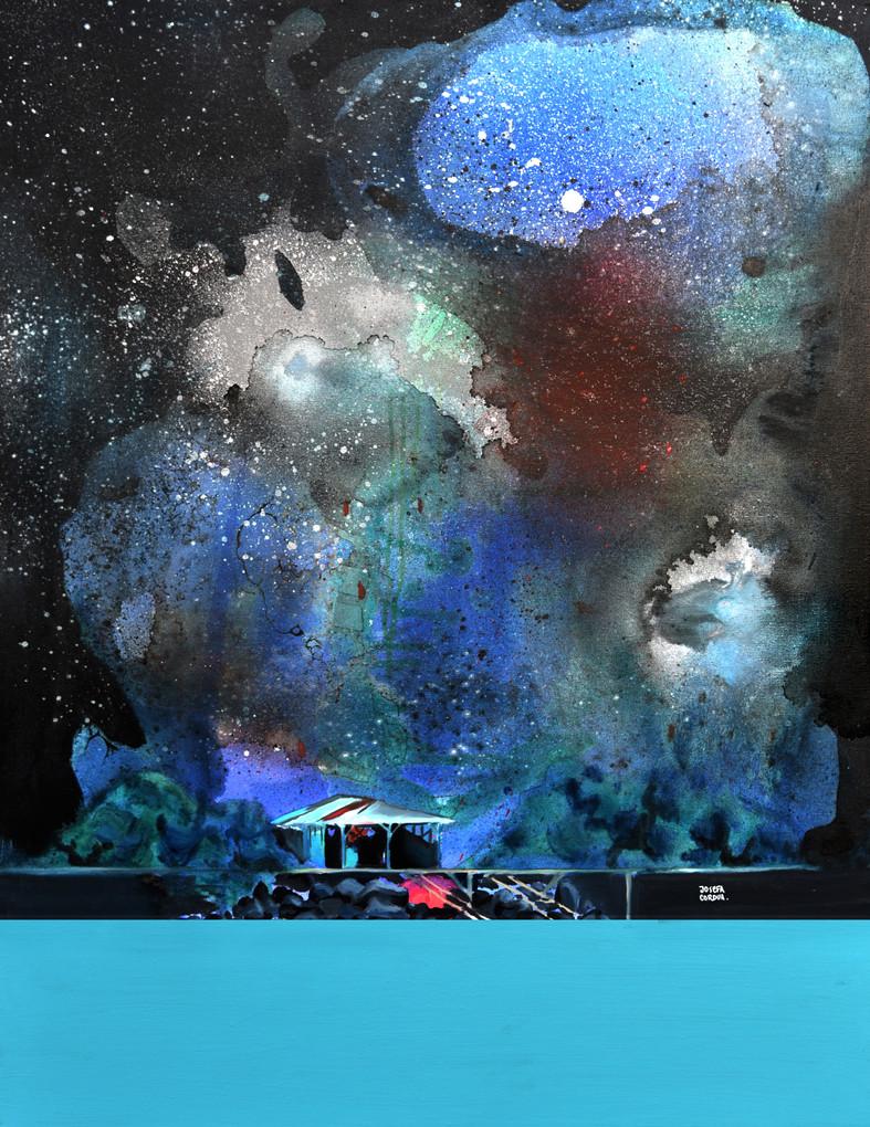 Nocturno I. Acrílico, óleo y spray sobre tela. 90 x 70 cm. 2015