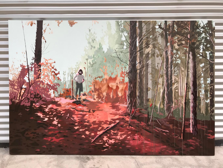 El bosque II. Acrílico sobre tela, 230 x 150 cm. 2019