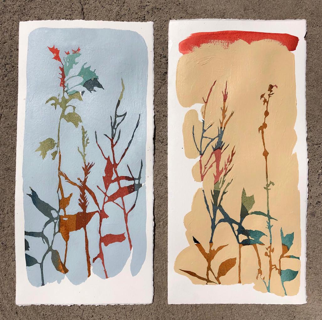 Botánicos. Acrílico y acuarela sobre papel. 2020