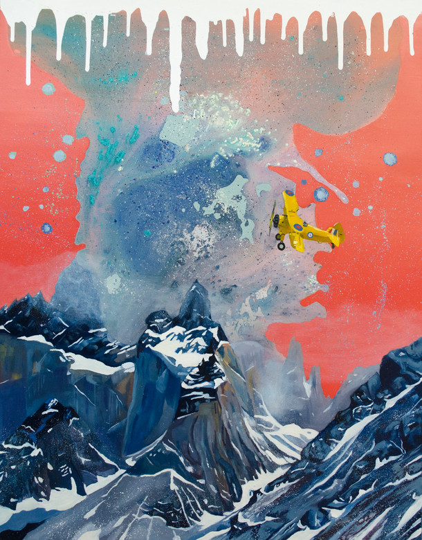 Expedición 304. Óleo, acrílico y spray sobre tela. 90 x 70 cm. 2017