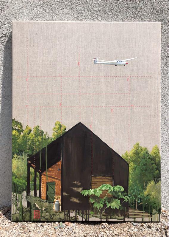 Estudio de vuelo. Acrílico sobre lino. 60 x 80 cm. 2021 Obra inspirada en la fotografía de Fernanda Castro, Arq Karina Duque