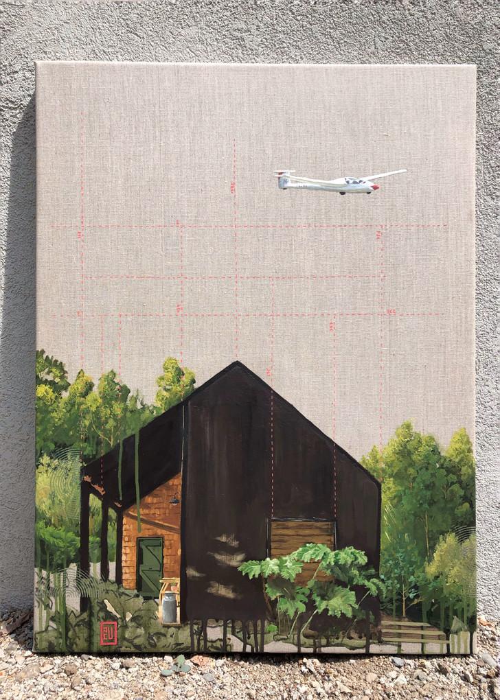 Estudio de vuelo. Acrílico sobre lino, 60 x 80 cm. 2021