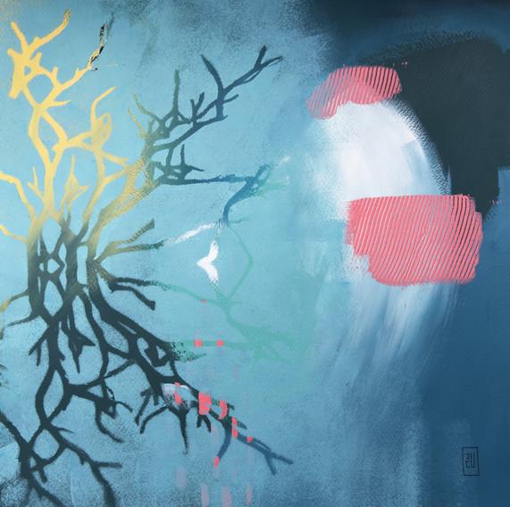 Acuarela y acrílico sobre papel. 40 x 40 cm. 2018