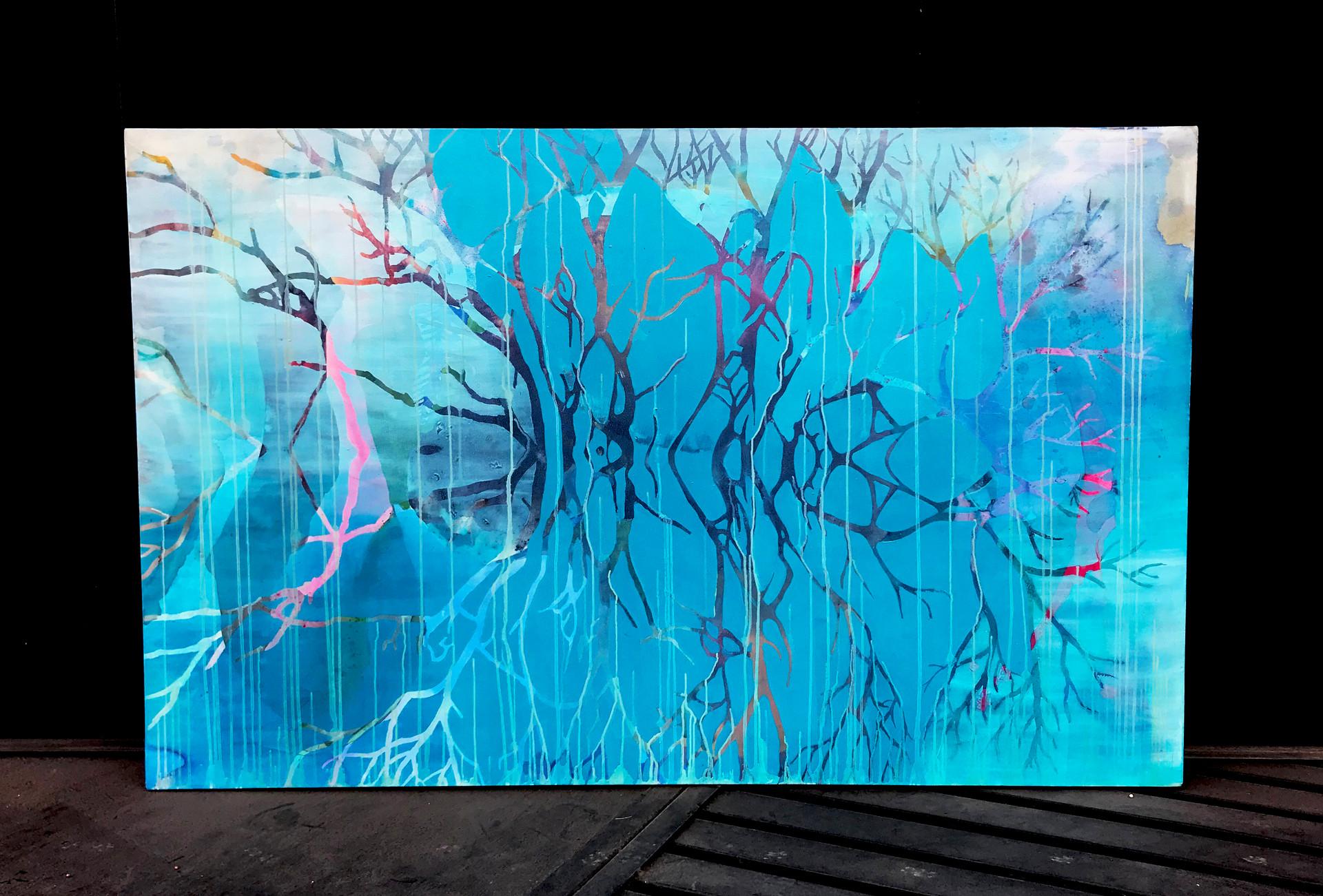 Acrílico y óleo sobre tela, 100 x 160 cm. 2018