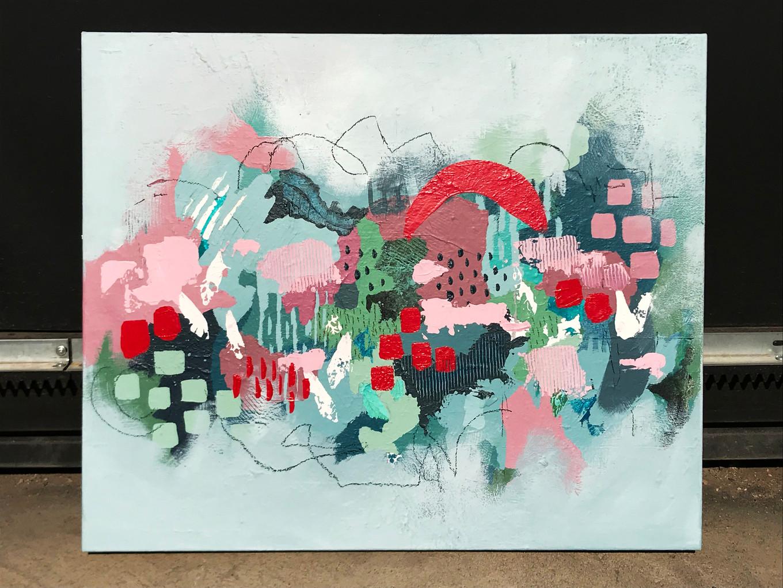 Entre líneas. Acrílico sobre tela, 45 x 60 cm. 2019