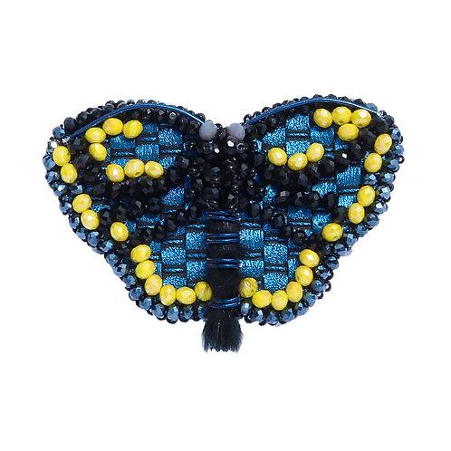 Plavo žuti broš/ogrlica