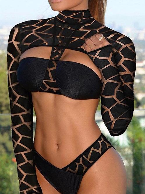 Long Sleeve Mesh Swimsuit