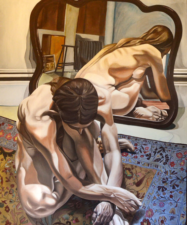 """Master's Copy of Philip Pearlstein's """"Crouching Female Nude with Mirror"""""""