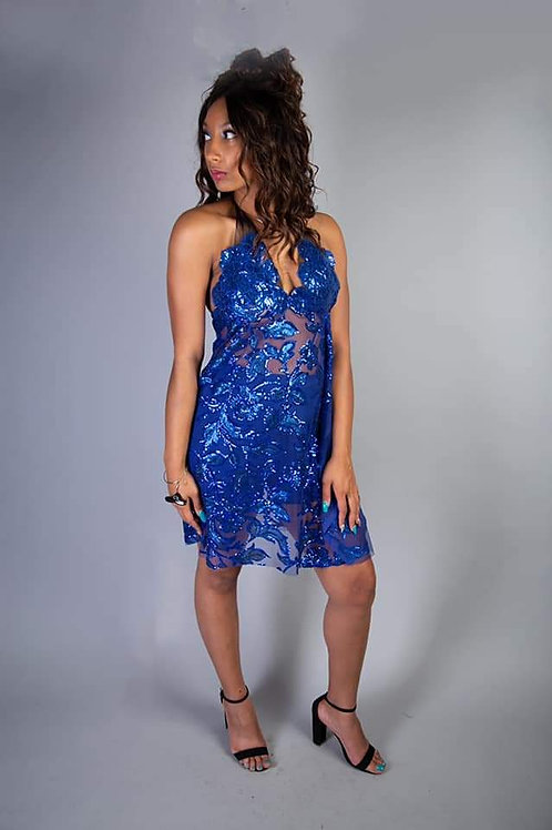 Blue sequin cocktail dress with matching shorts