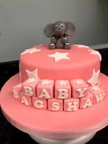 Pink elephant cake with blocks