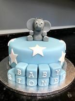 Blue elephant cake with blocks