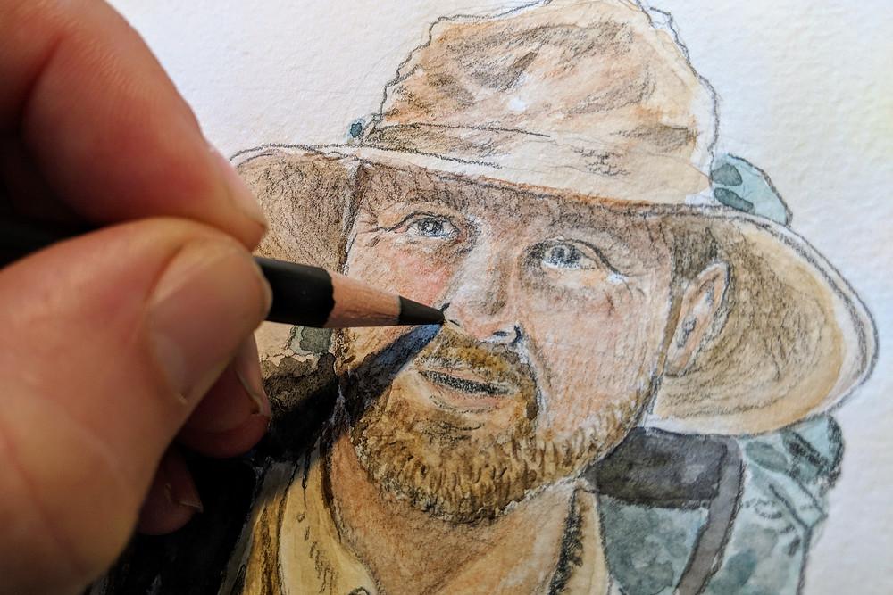 Dessin de voyage au crayon noir Nero de Cretacolor et aquarelle