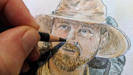 Crayon noir et aquarelle
