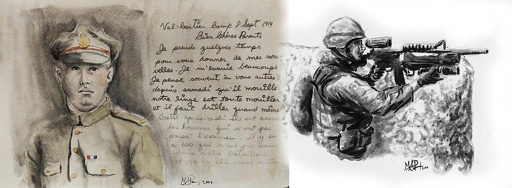 Portrait d'un soldat canadien 1914 accompagné d'une lettre envoyée à ses parents, et soldat canadien en Afghanistan 2010