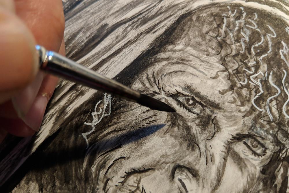 Détail d'un portrait à l'encre de chine (technique sèche et humide)