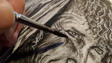 Portrait à l'encre de chine