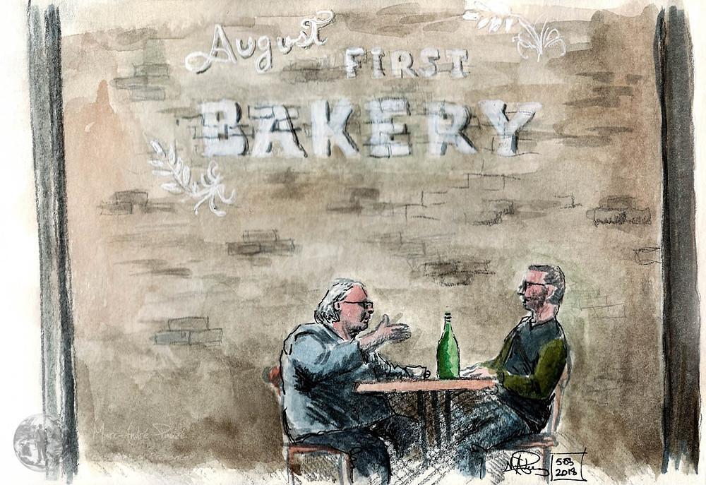 Croquis d'aquarelle du café August First Bakery, Burlington, Vermont, et fait sur place.