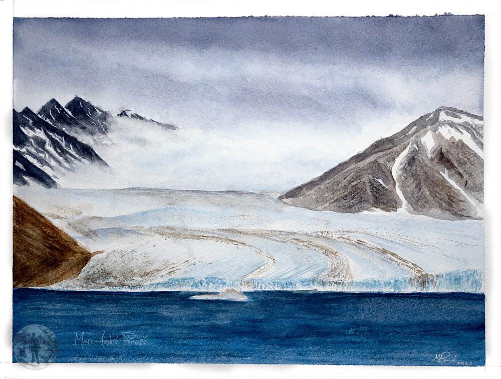 Watercolor painting of Manson glacier, Ellesmere Island.