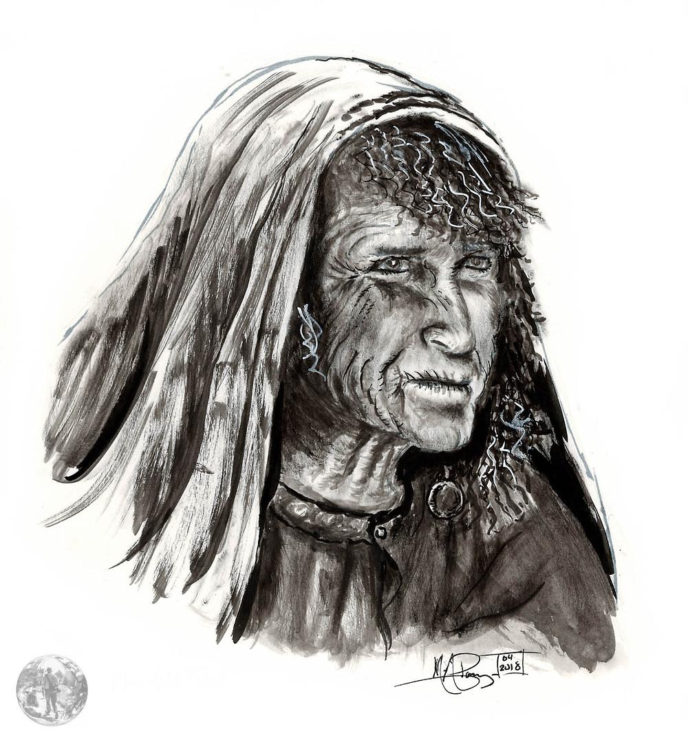 Portrait à l'encre de chine (dry brush) d'une nomade Rebaya,