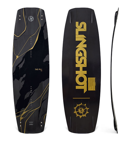 SLINGSHOT 2019 PILL WAKEBOARD 19286 CABLE PARK WAKE BOAT FRONT AND BACK DETAIL GRAPHICS