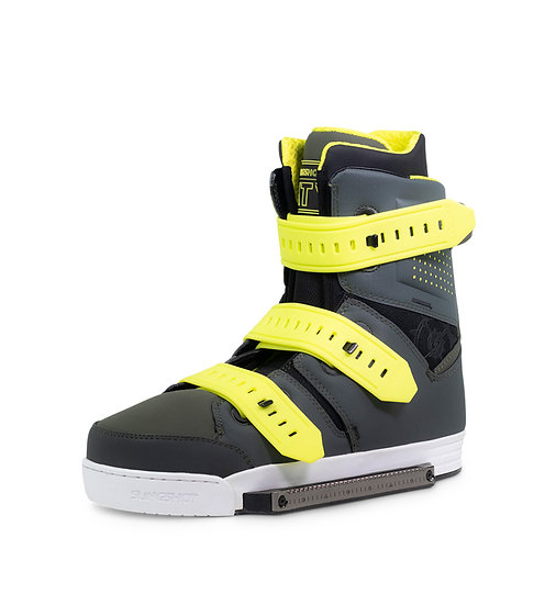 SLINGSHOT 2019 KTV 19443 WAKEBOARD BOOTS FULL CLOSURE GUMMY STRAPS YELLOW FRONT BINDING VIEW