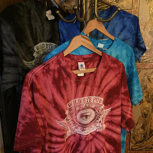 New! Tie dye shirts in 4 colors! Maroon, charcoal, turquoise and blue, in multiple sizes