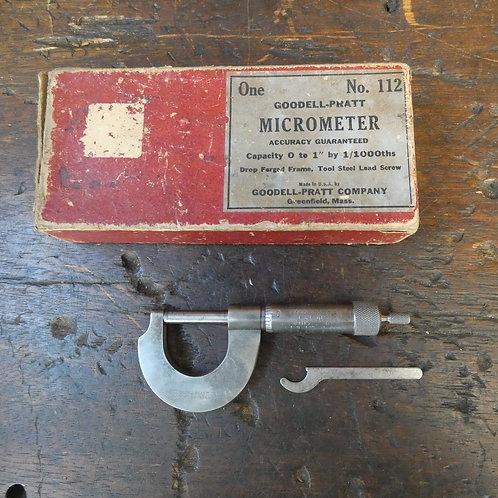 Goodell-Pratt Micrometer No.112