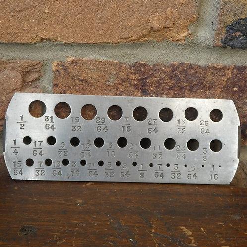 Twist Drill Bit Gauge Plate