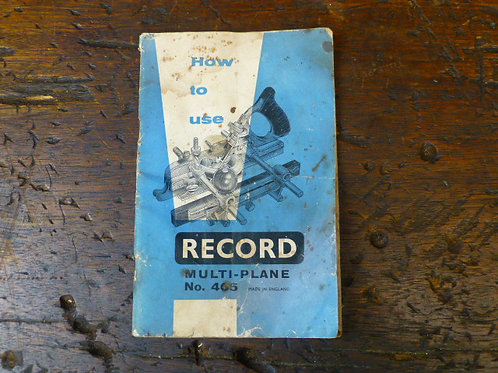 Instruction Book - How to use a Record 405 Multi Plane