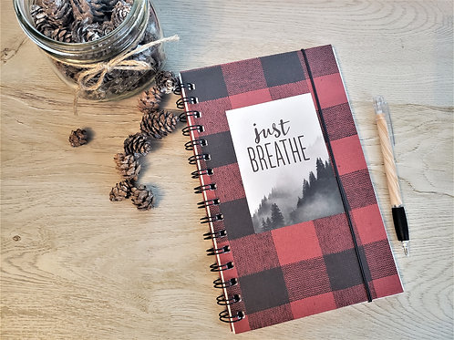 "Buffalo Plaid Red ""Just Breathe"""