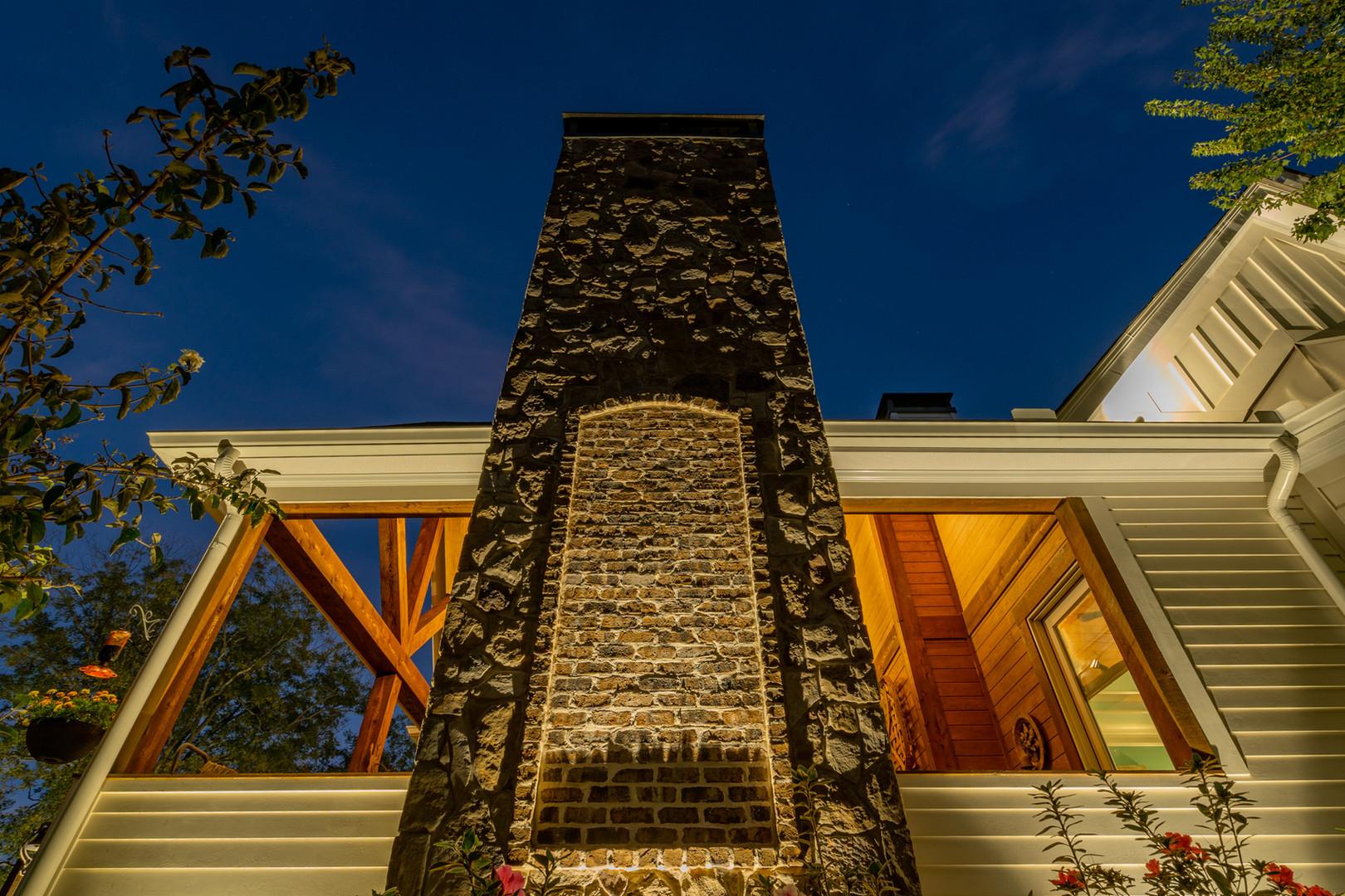 Foundation Lights on Stone Fireplace
