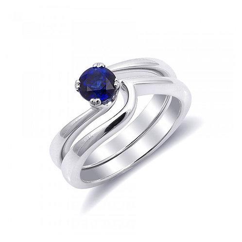 14k White Gold 0.72ct TGW Blue Sapphire Interlocking Bridal Ring Set