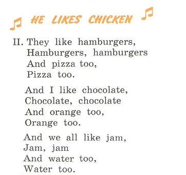 "Верещагина 3 класс стихотворение ""He Likes Chicken""аудио слушать. Exercise 7. Рисунок. 3 класс, урок 22, упр 7"