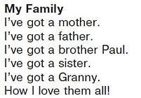 Стихотворение My Family Моя семья  Слушать звук 46  Верещагина 1 классурок 31
