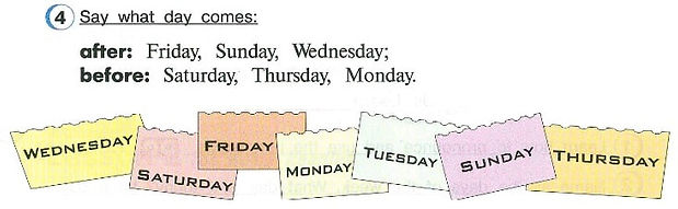 Say waht day comes:  after: Friday, Sunday, Wednesday;  before: Saturday, Thursday, Monday. гдз 4 класс английский язык учебник