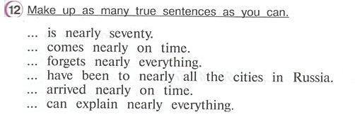 Гдз по английскому 4 класс верещагина учебник часть 2 упражнение 12  Make up as many true sentences as you can.