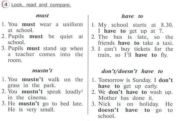 Гдз по английскому 4 класс верещагина учебник часть 2 упражнение 4  Look, read and compare.