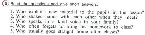 Гдз по английскому 4 класс верещагина учебник часть 2 упражнение 6  Read the questions and give short answers.