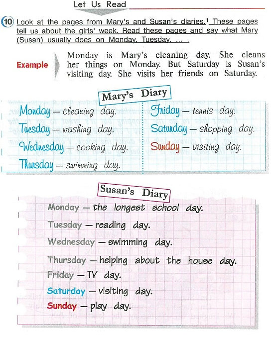 Let us read.  Look at the pages from Mary's and Susan's diaries. These pages tell us about the girls' week. Read these pages and say waht Mary (Susan) usually does on Monday, Tuesday. Гдз верещагина 4класс