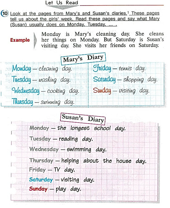 Let us read.  Look at the pages from Mary's and Susan's diaries. These pages tell us about the girls' week. Read these pages and say waht Mary (Susan) usually does on Monday, Tuesday. Гдз верещагина 4 класс