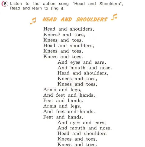 Head and shoulders Песня Head and shoulders Верещагина слушать онлайн. верещагина 3 класс урок 46 упражнение 6
