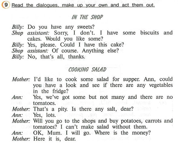 """""""In the shop"""", """"cooking salad"""" Read the dialogues, make up your own and act them out"""