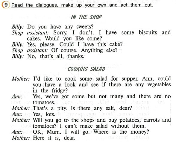 """In the shop"", ""cooking salad"" Read the dialogues, make up your own and act them out"