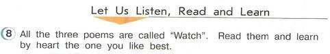 """английский язык 3 класс домашнее задание верещагина. read poems """"Watch"""". Рисунок. 3 класс, урок 4, упражнение 8."""