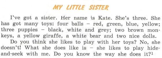 учебник english 3 верещагина притыкина. My little sister. Рисунок 1. 3 класс. Урок 4, упражнение 7.